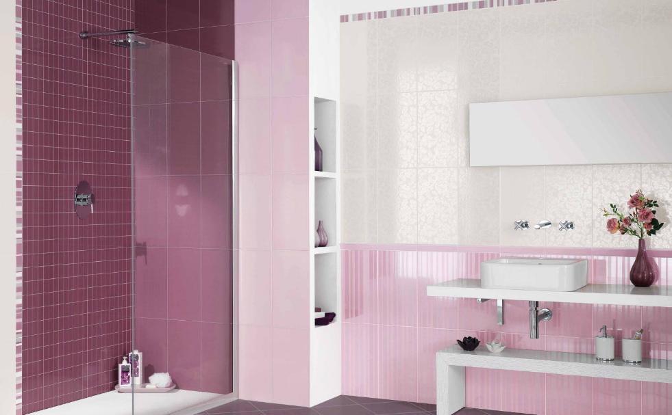 desain kamar mandi keramik ungu