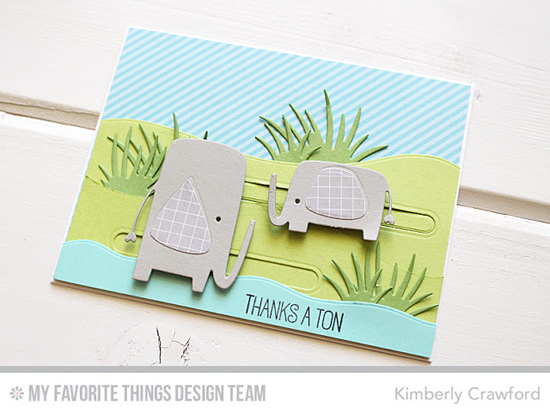 Thanks a Ton Card by Kimberly Crawford featuring the Jungle Friends Card Kit #mftstamps