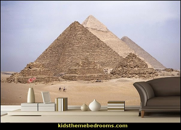 Egyptian wall paper mural Pyramids at Giza  Egyptian theme bedroom decorating ideas - Egyptian decor - Egyptian furniture - Egyptian Themed Home Decor - pyramid wall murals - Egyptian wall decals - Egyptian themed bedding - Egyptian throw pillows -  egyptian themed bedding set - ancient egyptian themed bedding - Egyptian Home decor ideas - Egyptian costumes - Egyptian themed lighting -  Egyptian Queen costume -  Egyptian Pharaoh Costume - Hieroglyphic posters - Egyptian themed rooms