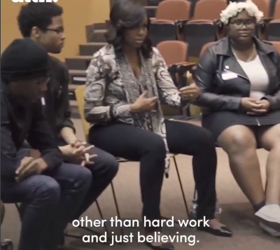 """""""No magic gets you here other than hard work and believing"""" Michelle Obama says to college students as she drops by in surprise visit (video)"""
