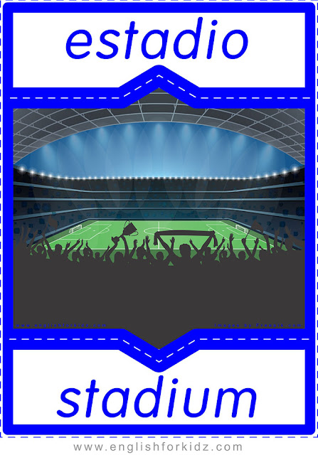 Stadium in Spanish, English-Spanish flashcard