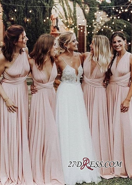Elegant V-Neck Long Bridesmaid Dresses 2019 Ruched Maid of Honor Dress