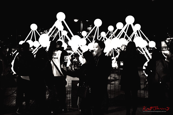 Selfie with, Affinity by amigo & amigo (Simone Chua & Renzo B. Larriviere ) + S1T2 (Chris Panzetta & Naimul Khaled) at Vivid Sydney in black and white photography