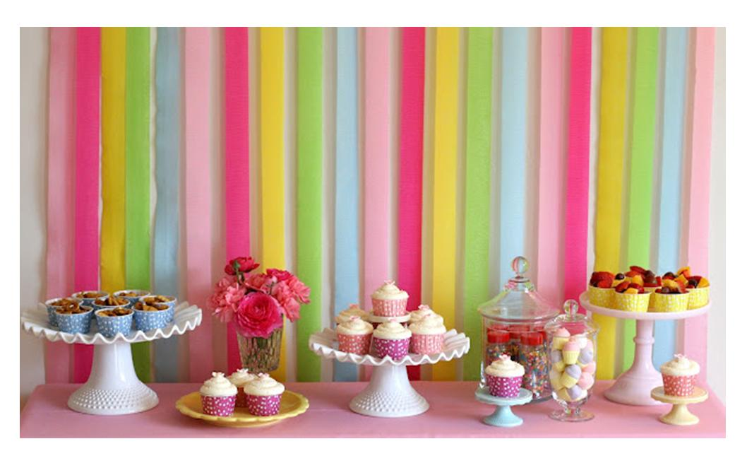 Love This Colorful Backdrop Made Entirely Out Of Crepe Paper The Desserts Looks Yummy Too See How Is Done And Find Recipes At Glorious Treats