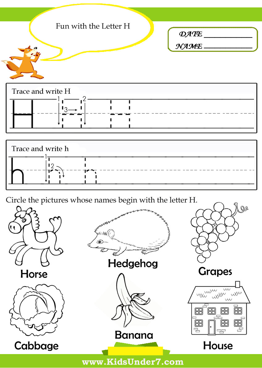 Letter H Worksheets For Kindergarten Davezan – Letter H Worksheets Kindergarten