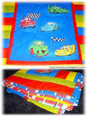 стеганое одеяло из полосок ткани