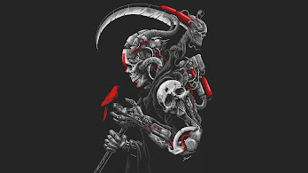 Sci-Fi, Skull, Cyborg, Warrior, Scythe, 4K, #85