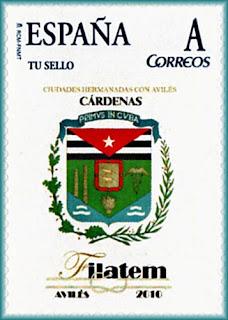 Sello personalizado emitido durante la FILATEM 2010 de Avilés con el escudo de Cárdenas