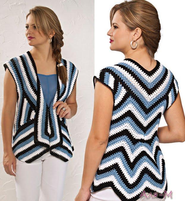 Patron Crochet Chaleco ilusion Optica