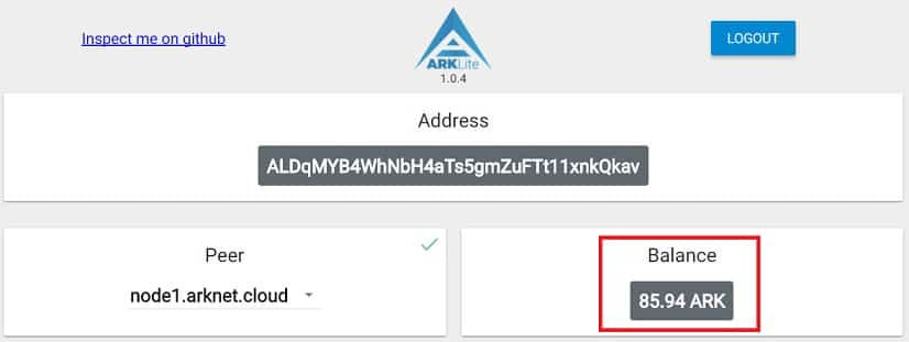Criptomonedas en Wallet ARK Guardadas
