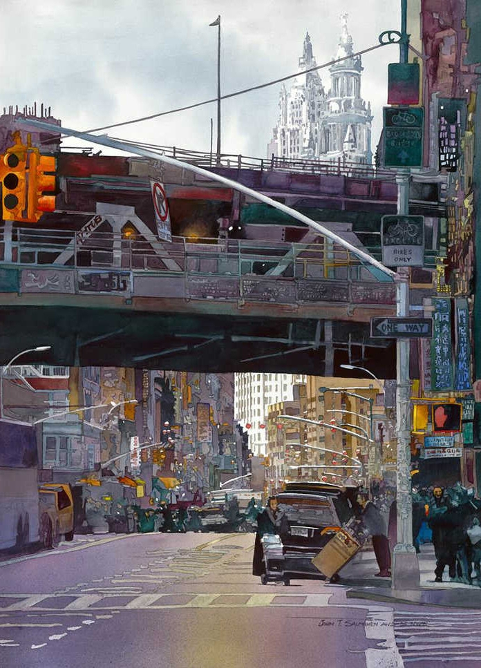 10-Manhattan-Bridge-John-Salminen-Watercolor-Paintings-Taking-Glimpses-into-our-Life-www-designstack-co