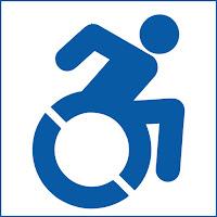 Icono de una persona en silla de ruedas pero su postura indica que está en movimiento.