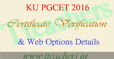 KU pgcet 2017 certificate Verification dates kucet web options counselling details