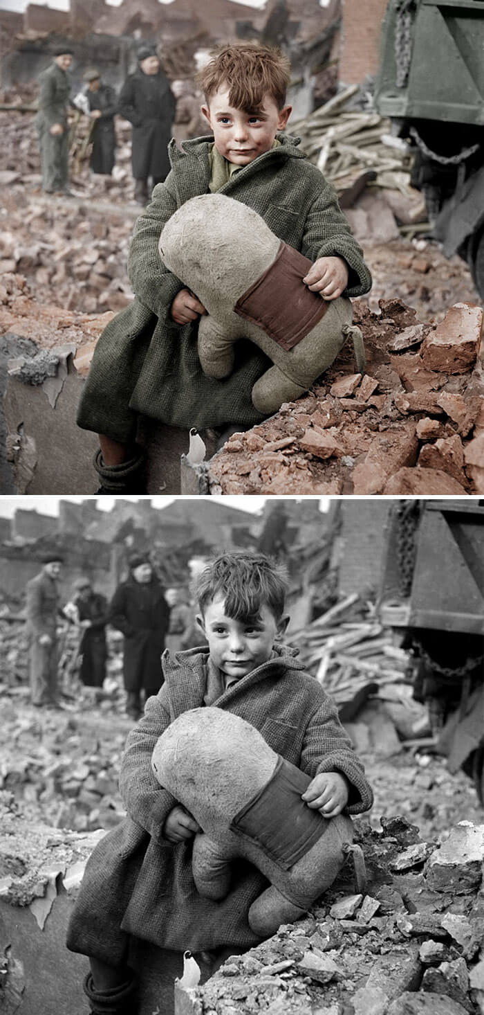 Digital Artist Colorizes The Last Heartbreaking Pictures Of A 14-Year-Old Polish Girl In Auschwitz - English Orphan In London, 1945