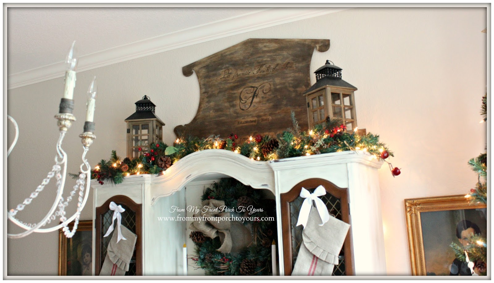 Christmas Dining Room Hutch-French Farmhouse Vintage Christmas Dining Room- From My Front Porch To Yours