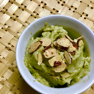 avocado ice cream with slivered almonds