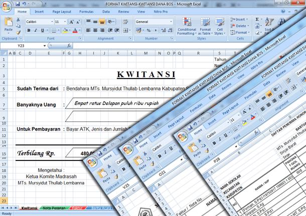 File Pendidikan Contoh Format Kwitansi, Nota Pesanan, Faktur, Info Program Penerimaan Barang, Daftar Akseptor Gaji Acara Dana Bos Format Microsoft Excel