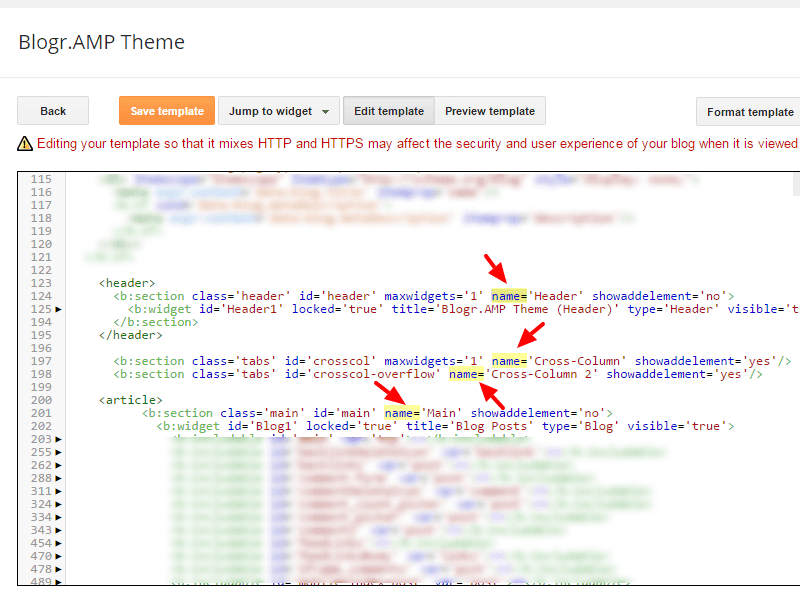 Guide remove name attributes on Blogger AMP pages
