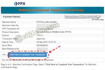 Cara Bayar Balik Pinjaman PTPTN Melalui FPX 9