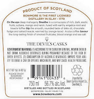 Bowmore The Devil's Casks III back label
