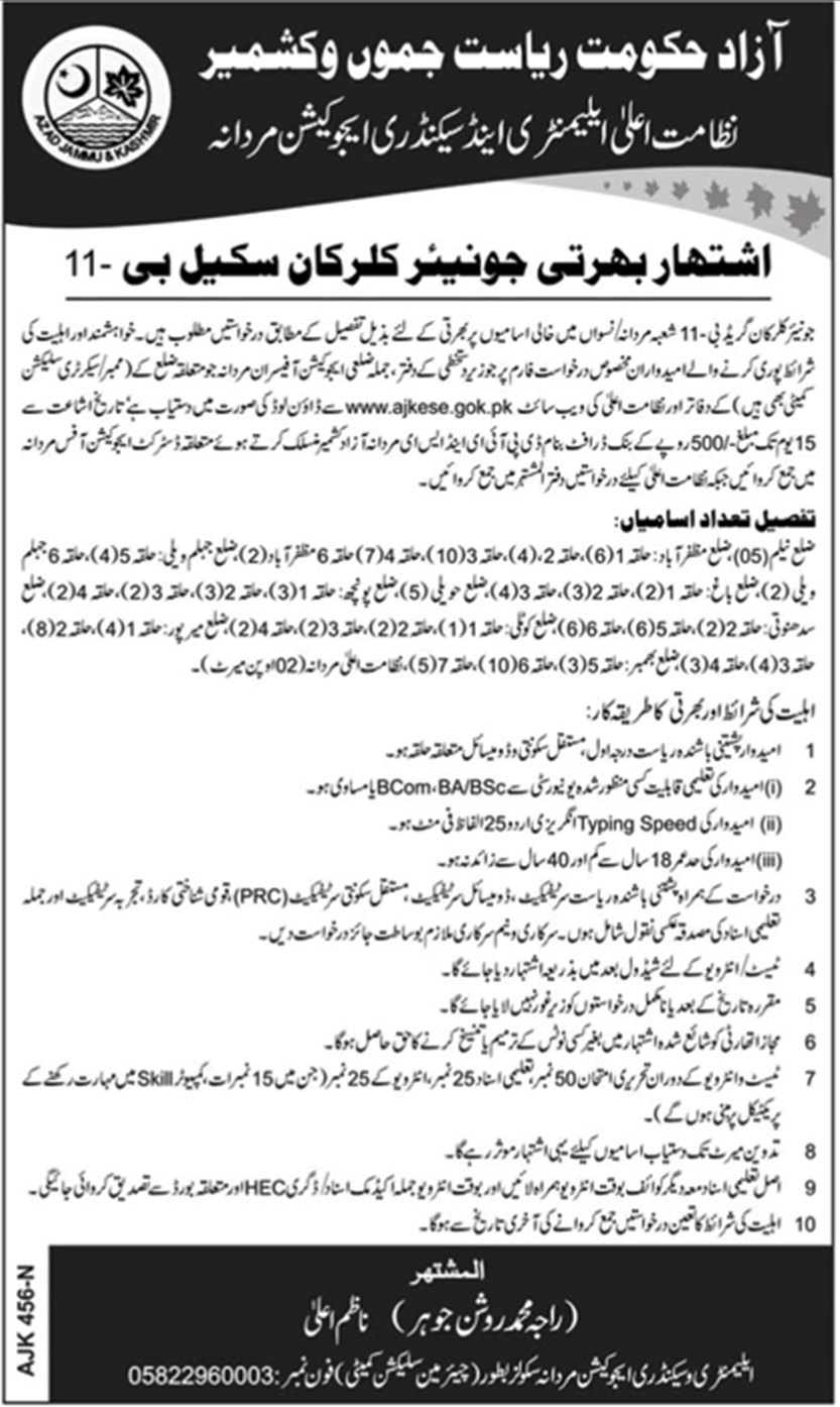 Jobs In Elementary And Secondary Education Department Azad Kashmir 2018