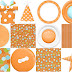 Images in Orange of the Little Jungle Animals Celebrating a Birthday.
