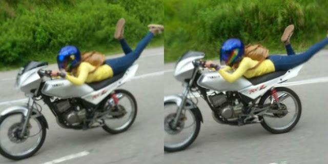 Heboh! Video Gadis Naik Motor Sambil `Aksi Terbang`