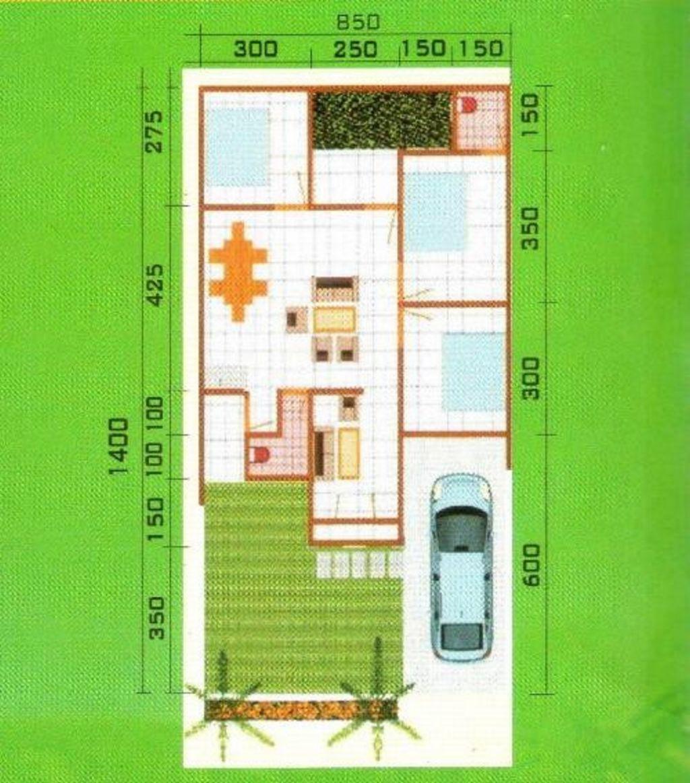 gambar denah 3 kamar 2 kamar mandi idaman