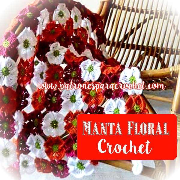 como tejer una manta con flores al crochet