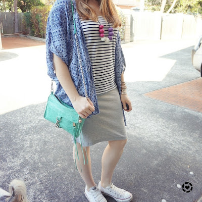 @awayfromblue instagram casual pencil skirt, stripe tank and kimono with Converse Chucks