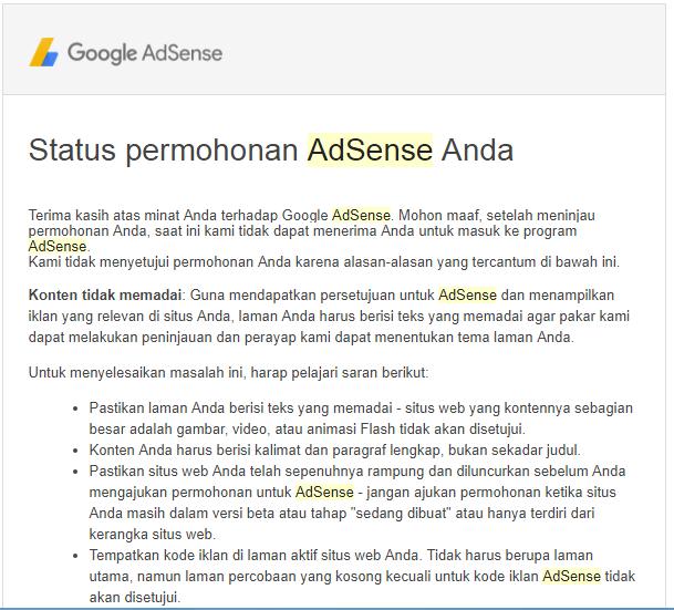 Beginilah Contoh Balasan Email Google Adsense Yang Diterima