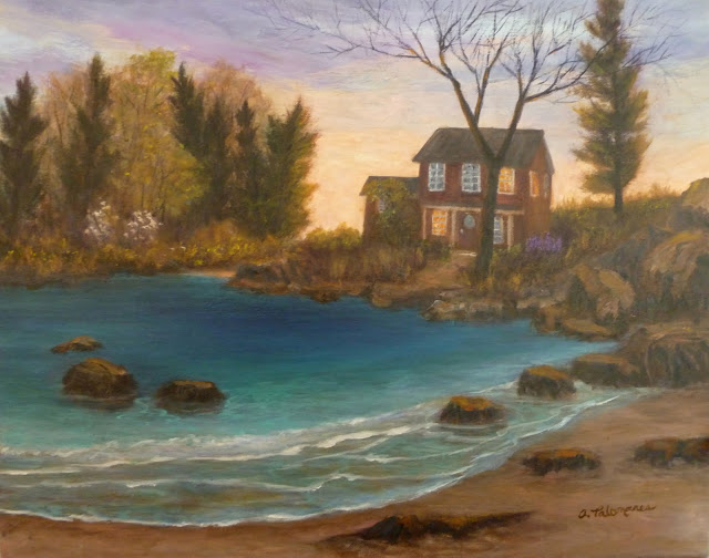 Painting of a cottage with lite windows by the sea during a sunset