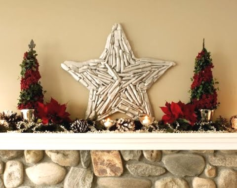 DIY Christmas Holiday star made with drift wood sticks