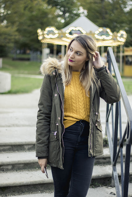 agathe diary look automne blog mode bordeaux parka pull moutarde