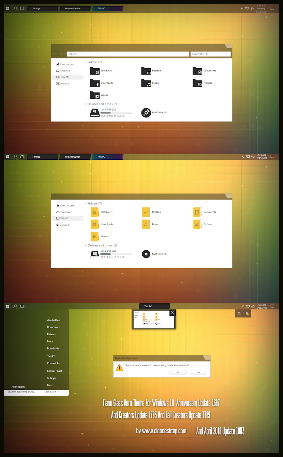 Tiano Glass Minimal Theme Windows10 April 2018 Update 1803