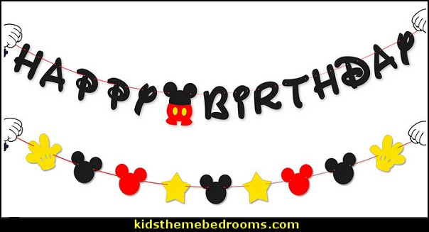 Mickey Mouse Birthday Banner and Garland
