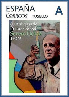 Sello personalizado del 60 aniversario de la concesión del Premio Nobel de Medicina a Severo Ochoa