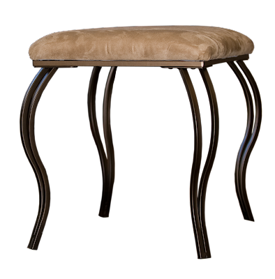 A small square footstool with curved metal legs and beige faux-suede fabric.