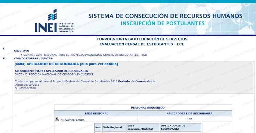 INEI Convoca a más de 4 mil Aplicadores de Secundaria ECE 2018 Minedu - Mínimo Estudiantes de Carreras Técnicas - Inscripción a Nivel Nacional - www.inei.gob.pe