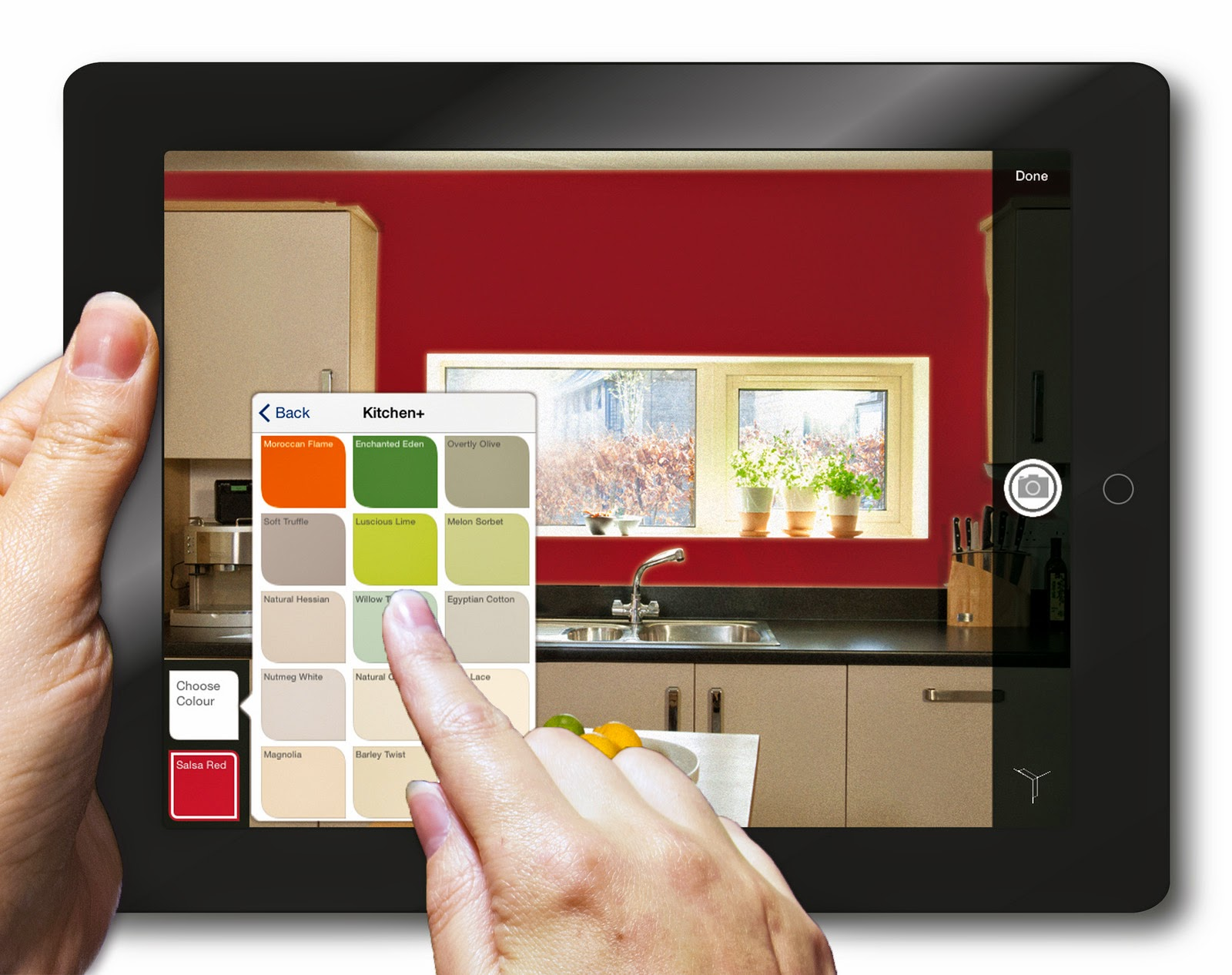 – The Dulux Visualiser App allows a user to envision the room in various colour options before making a purchase.