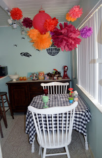 first wedding anniversary tissue paper flowers dining room