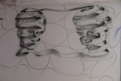 Malowanie na ścianie obrazu ultrafioletowego, mural UV, malarstwo ścienne, black light mural
