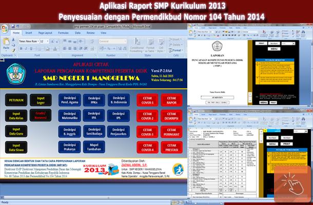 Aplikasi Raport SMP Kurikulum 2013 Penyesuaian dengan Permendikbud Nomor 104 Tahun 2014