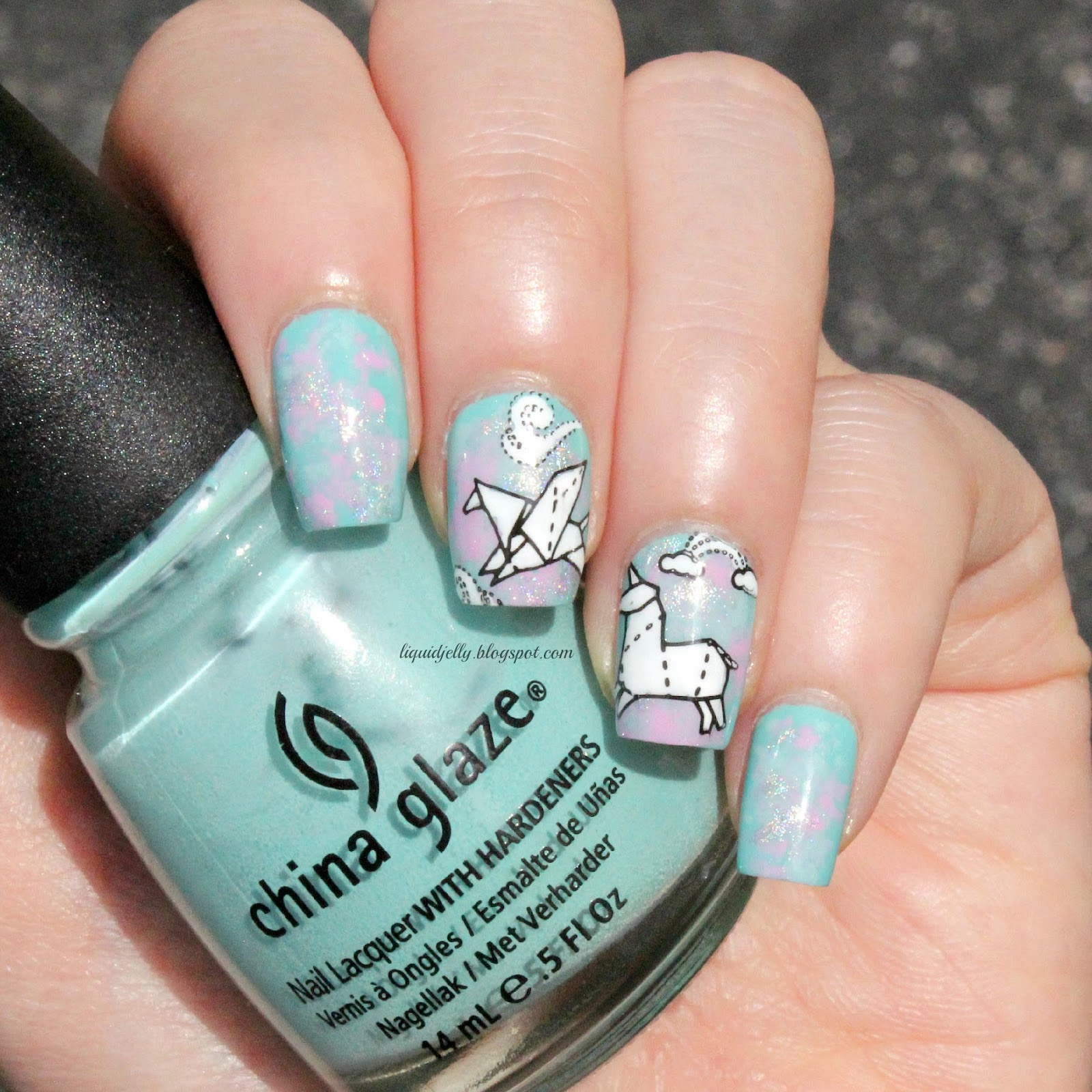 Liquid jelly nail art moyou london origami 05 i did this mani a while ago and actually got to wear it for a few days i really love the cute origami designs moyou london has come out with prinsesfo Images
