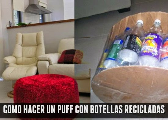 Como hacer un Puff con Botellas de Plastico