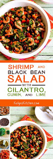 Shrimp and Black Bean Salad with Cilantro, Cumin, and Lime found on KalynsKitchen.com