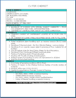 FRESH JOBS AND FREE RESUME SAMPLES FOR JOBS CV for Chemist - plant chemist resume