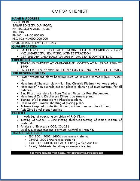Chemistry Student Resume Sample Scientist Phd Resume  Chemist Resume