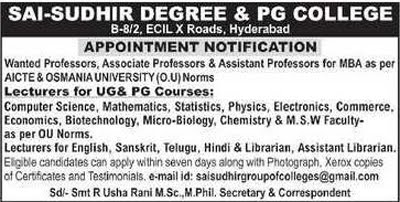 Sai-Sudhir Hyderabad Microbiology/Biotech Faculty Jobs Ad Image