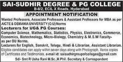 Sai-Sudhir Hyderabad Microbiology/Biotech Faculty Jobs